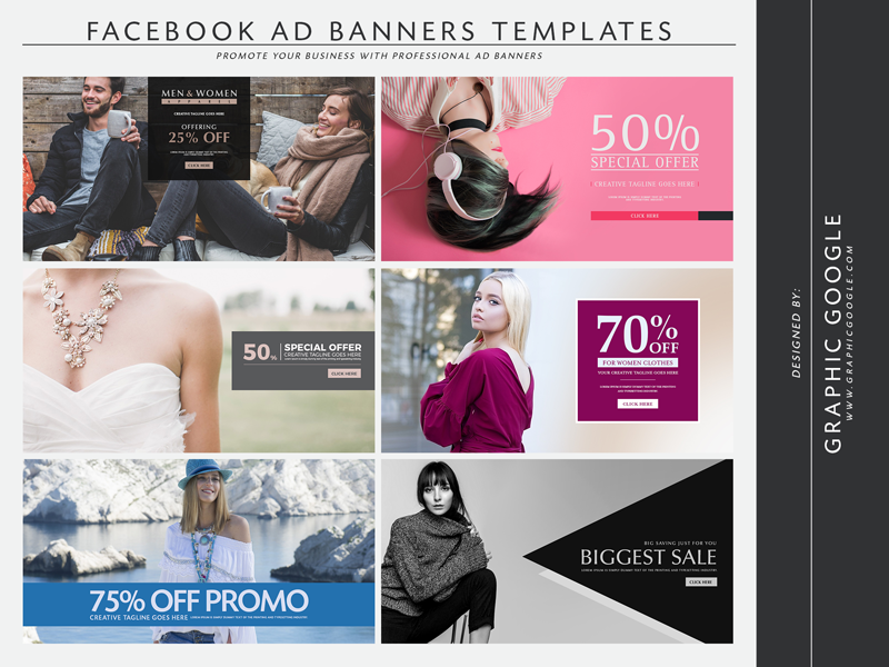 6 free facebook ad banners templates by graphic google dribbble