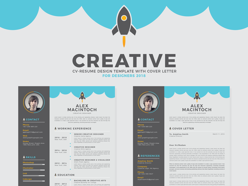free creative cv resume design template with cover letter by graphic