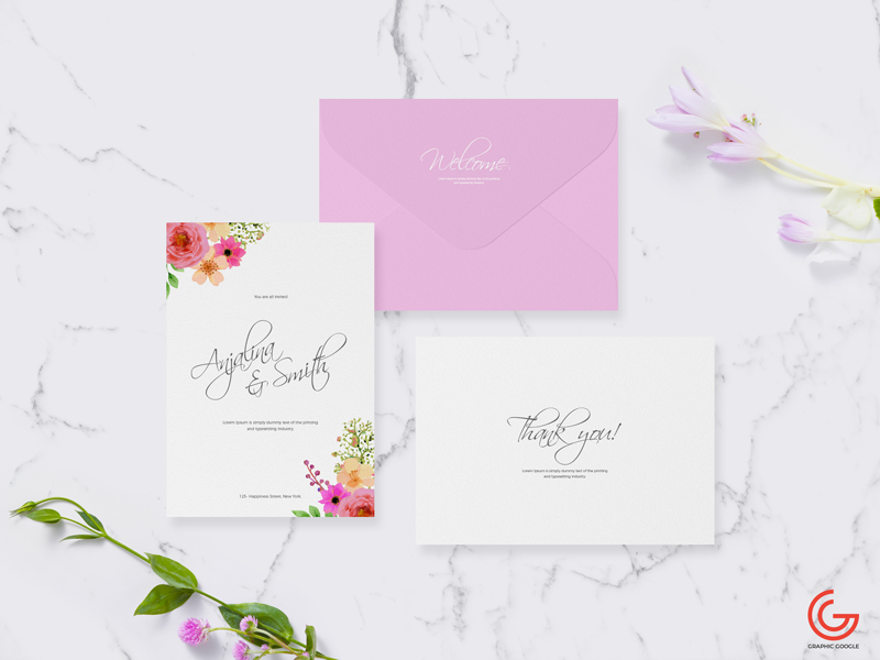 Free Invitation Card Mockup For Wedding & Greetings