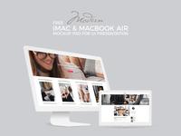 Free Modern iMac & Macbook Air Mockup Psd