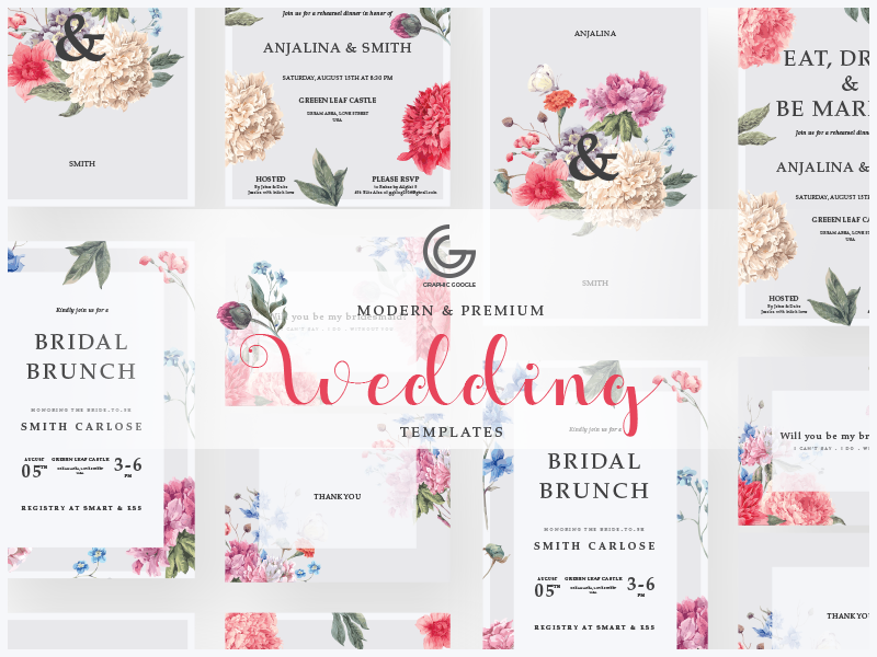 Free Modern Wedding Invitation Templates By Graphic Google On Dribbble