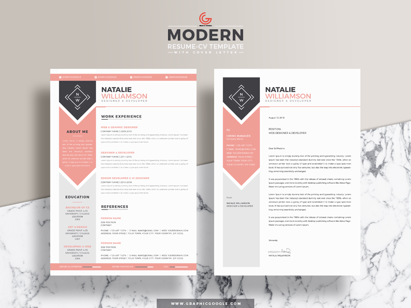 free designer  u0026 developer resume with cover letter by graphic google