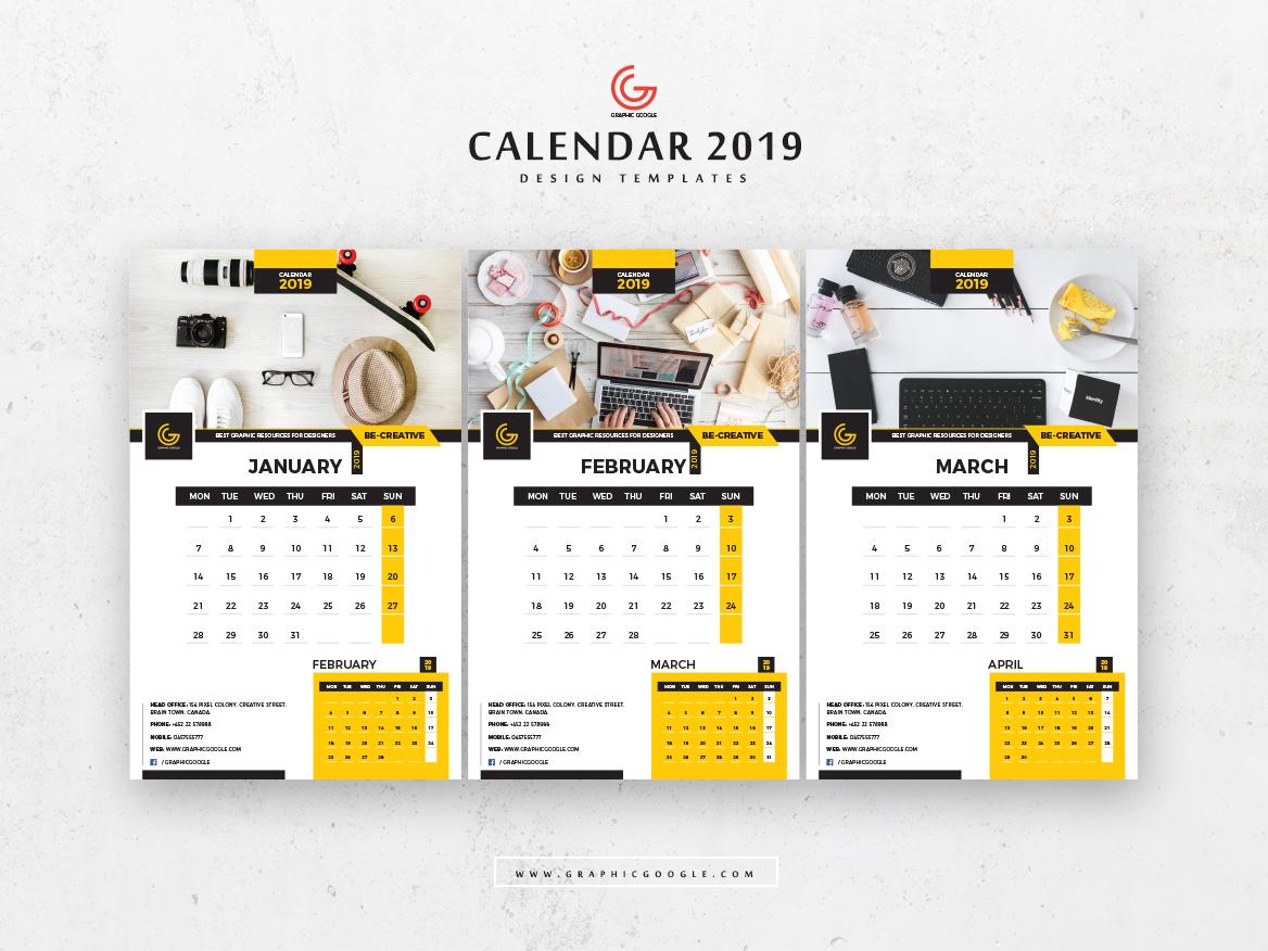 Free 13 Pages 2019 Calendar Design Templates January February Ma