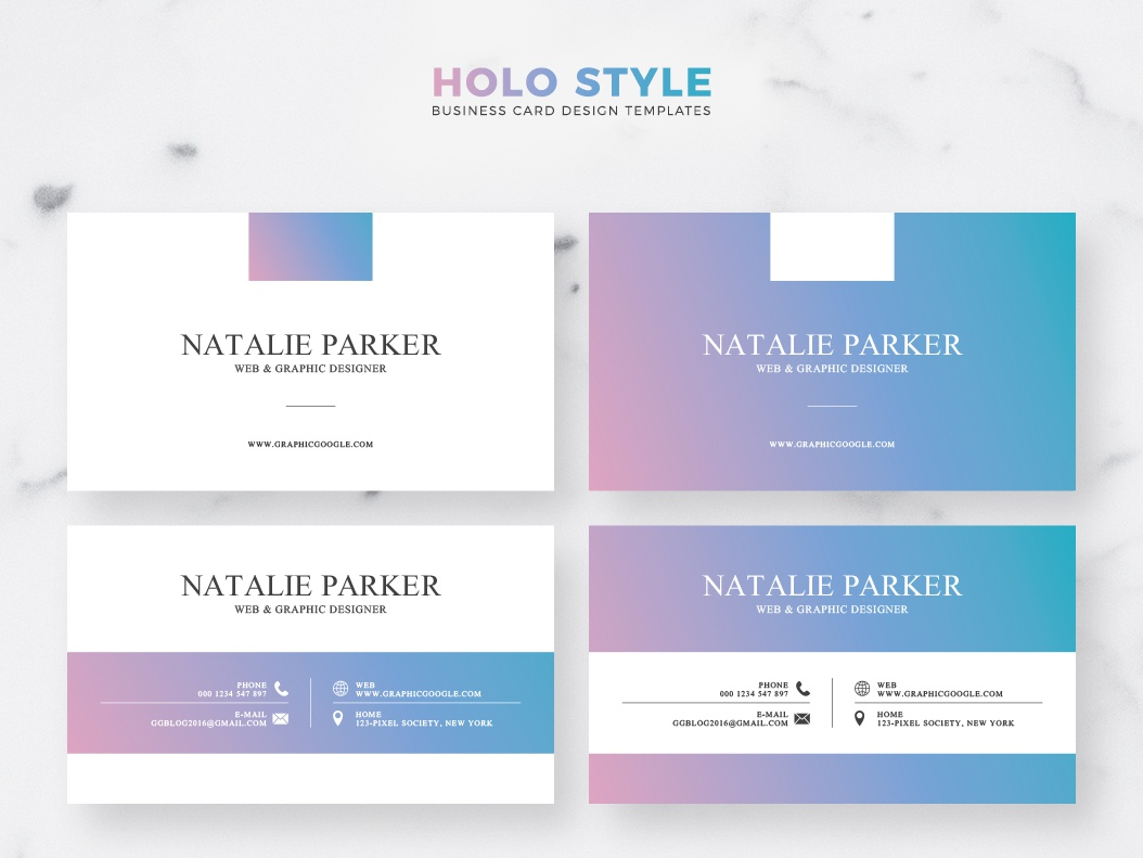 Free Holo Style Business Card Templates Ai Freebie Template Design