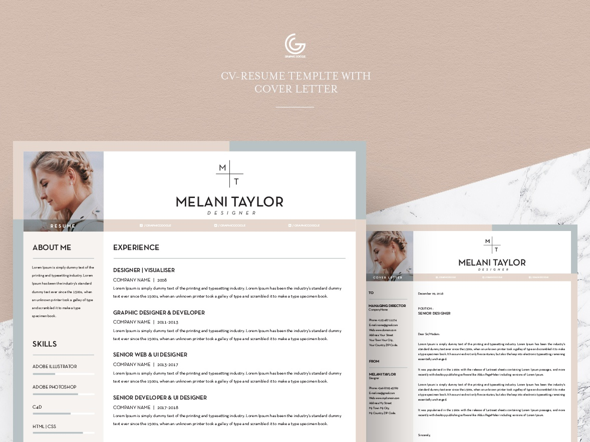 Free CV Resume Template With Cover Letter 2018 By Graphic Google