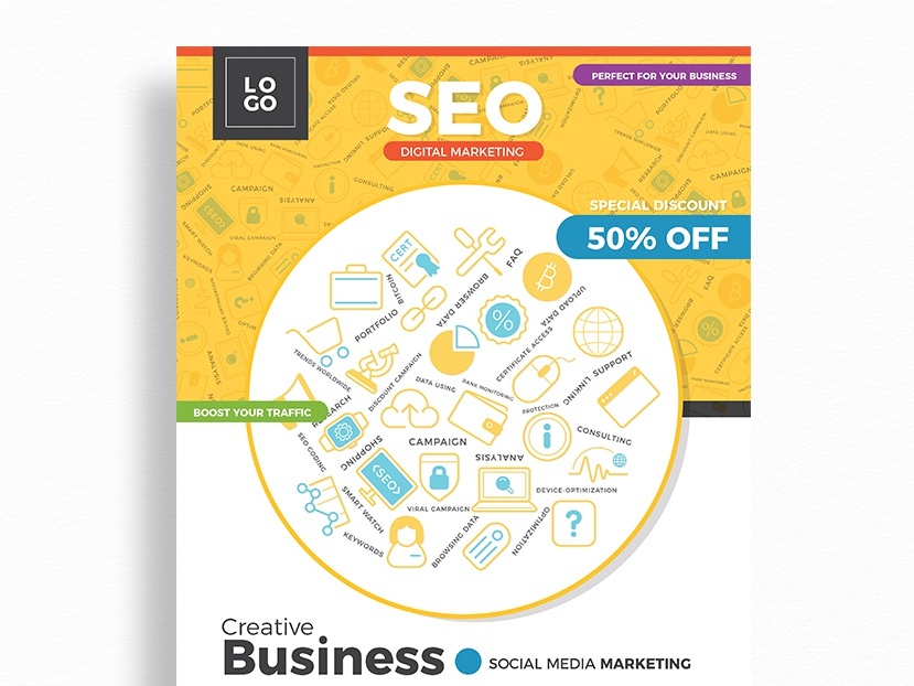 Free Seo Digital Marketing Flyer Template By Graphic Google