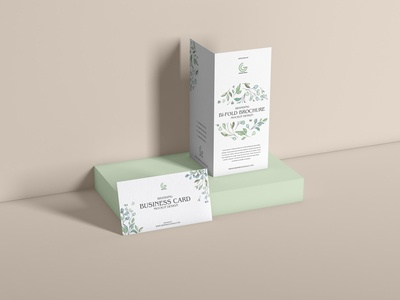 Free PSD Bi-Fold Brochure With Business Card Mockup Design
