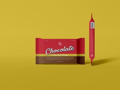 Free Chocolate Candy Sachet Mockup PSD Vol 1