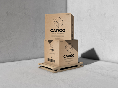 Free Packaging Cargo Delivery Box Mockup