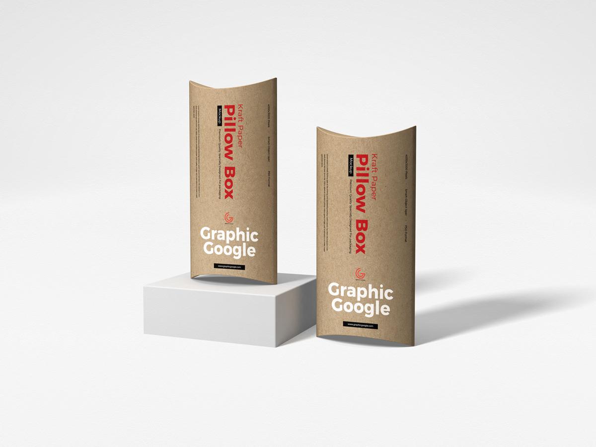 Free Kraft Paper Pillow Box Mockup By Graphic Google On Dribbble