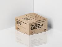 Free Cardboard Box Packaging Mockup PSD