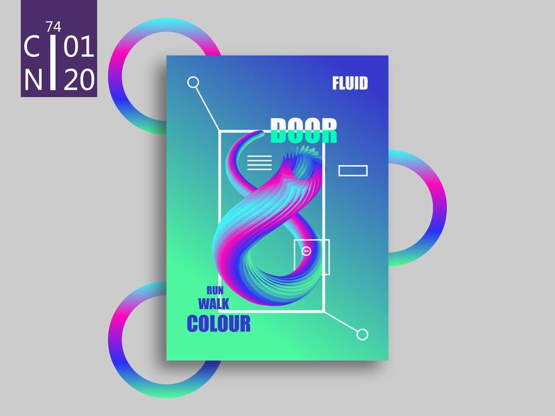 door.4 posters gradual change color line art illustration design ai