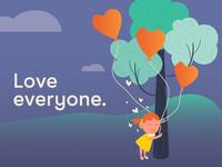 Love everyone valentine day february enviroment love vector design happy girl character design illustration