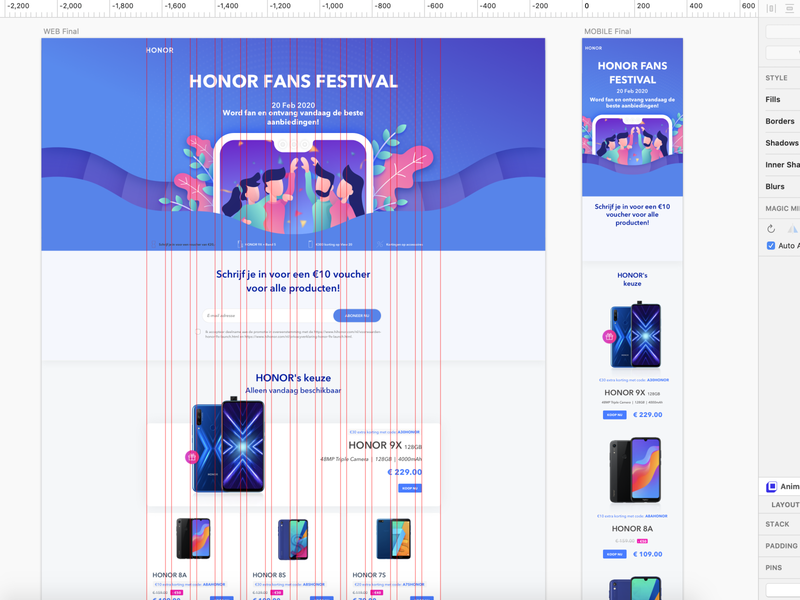 Huawei HiHonor Fans Festival characterdesign uxdesign wireframe design wireframe landing page illustration landing page design landing page ui landing page uiux ux ui graphic design design clean minimal linework vector illustration flat art