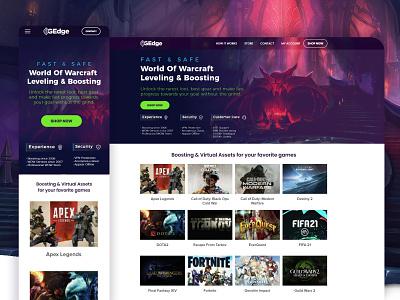 World of Warcraft Leveling & Boosting minimal vector flat art branding gaming ui uiux ui landing page design landing page ui landing page ui gaming gaming world of warcraft worldofwarcraft
