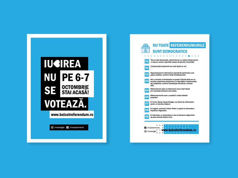 LGBT Referendum - Romania flat art graphic design clean blue vector minimal icon illustration design branding poster art poster artwork flyer artwork poster design flyer design poster layout flyer layout poster flyer