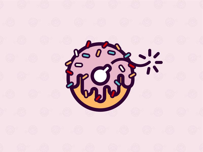Atom Bombs - donut shop logo art linework flat illustration minimal vector icon visual identity brand identity branding graphic design logo design logomark donut love donuts sweets logo sweet logo donut logo atomic logo