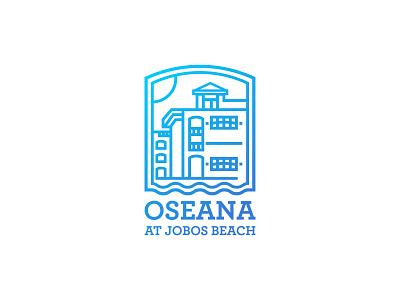 Oseana minimal clean vector branding villa logo building logo house logo real estate logo summer logo logomark blue minimalist logo icon flat logo graphic design logo design art linework illustration