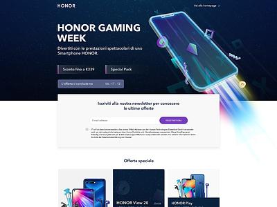 Huawei HiHonor Gaming Week flat branding phone mobile illustration design vector wireframe landing page ui landingpage uidesign uiux ux ui hihonor huawei