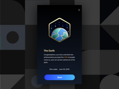 Achievement Badge - 01 The Earth device car obd exza date ux ui card app earth achievements badge