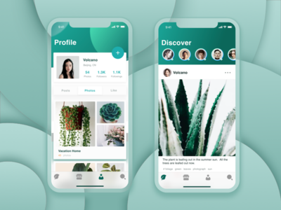 Plant interface discover app profile green ui