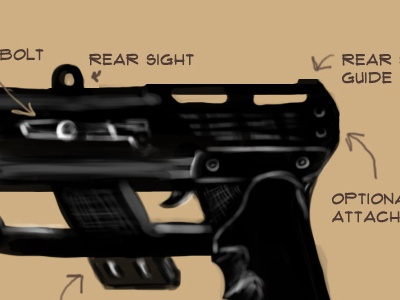 SMG concept - FPS illustration first person shooter game design concept art