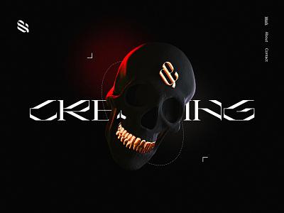 Dark Blender Experiment typography website animation design cycles dark ui creative skull blender3d blender