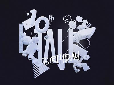 Tall 10th Birthday - 3D Illustration branding birthday anniversary illustration 3d webflow ux animationui blender graphic design
