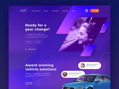 Vehicle leasing homepage concept rental spotify bold strong minmal ux vehicle motor van car gradient design