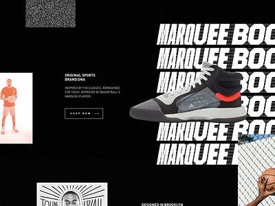 Adidas Marquee Boost footwear product landing page adidas typography dark ui design