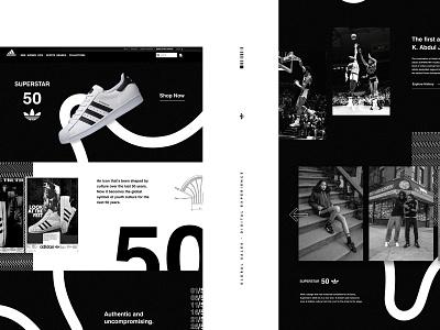 adidas Superstar 50 Global Sales Concept concept app branding typography dark ui design sneakers adidas website