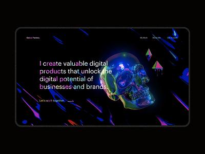 Colour Factory Blender 3D abstract skull iridescent colour design portfolio experiment ui website 3d blender