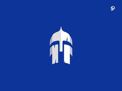 warrior helmet  / Version 1 blue vector design playful geometric icon illustration logo