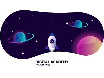 DIGITAL space rocket photoshop missile illustrator galaxy emblem branding animated aftereffects logo