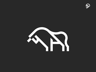 Bull playful pigeon logo illustration icon geometric desert cute strength