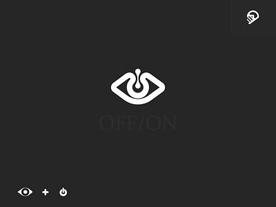 off/on off eye white logo illustration black