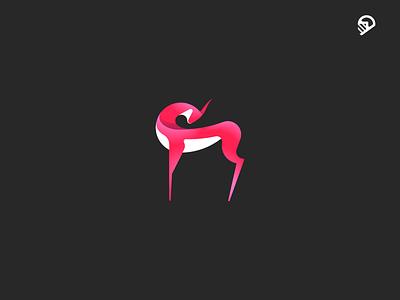 gazelle playful icon geometric fennec desert cute character logoanimal illustration
