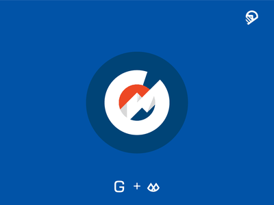 G mountain vector design blue geometric icon illustration logo