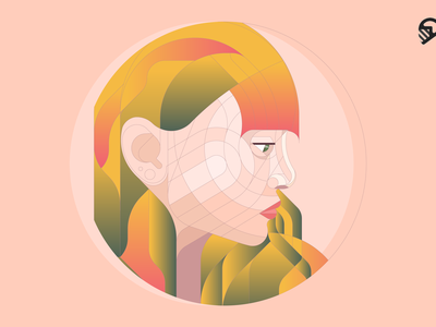 Geometric Girl Portrait pastel colorful vector design circular grid portrait illustration clean illustration cute geometric illustration geometric art geometric portrait portrait geometric illustration