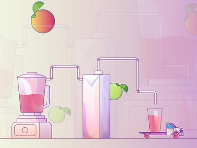Juice Factory Illustration #1 playful geometric design fruit illustration fruit drink illustration drink clean creative gradients minimal clean factory illustration colorful juice illustration juice illustration
