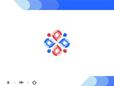 Association flag drinking fennec red blue character cute typography branding vector design desert geometric icon illustration logo