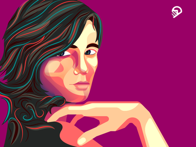 Geometric Girl Portrait clean illustration colorful art cute design vector branding playful geometric icon illustration