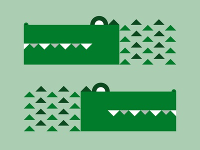 Crocodile cute minimal animal illustration animal green subtle pattern crocodile