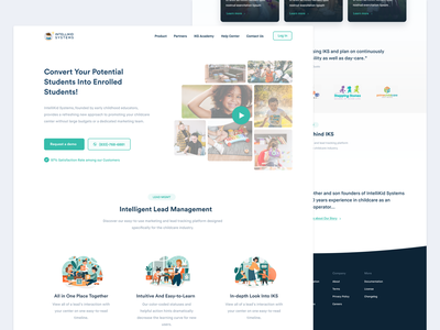 IntelliKidSystems - Website Design layout kindergarten green design clean ui ux childcare landing page homepage website