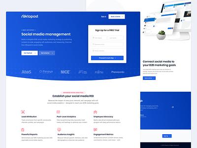 Oktopost - Landing Page Design design ui design homepage landing page layout user interface clean ux ui