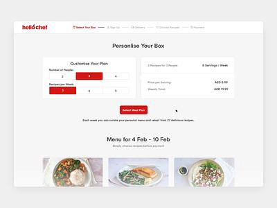 HelloChef - Home Cooking Website Design animation red vibrant website design food web app platform hellochef meal delivery