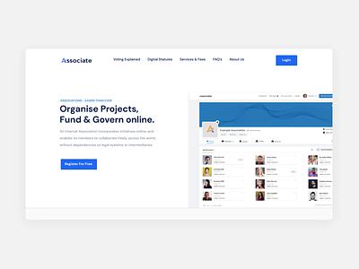 Associate.com - Online Governance Website user interface clean layout ui ux animation blue legal p2p online governance homepage layout design website