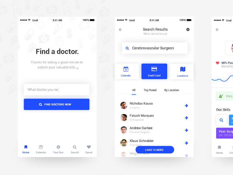 Search your Doctor doctor medical app blue ux ui clean ios mobile