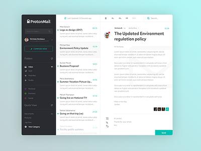 ProtonMail App Concept desktop clean interface ui application app mail