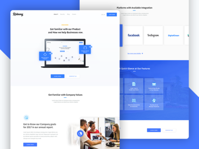 Rideway - Corporate Overview  landing corporate inner page web design blue modern design site ux ui layout
